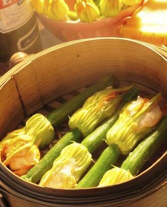 Courgette Flowers Stuffed With Rangitikei Chicken Mousse