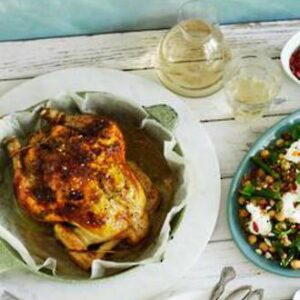 Feta & Harissa Roasted Chicken With Farro, Mint & Goji Berry Salad