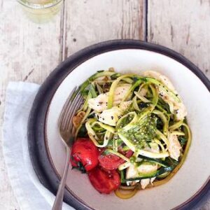 Quick & Easy Courgette Noodles With Pesto Chicken