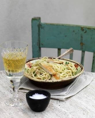 Rangitikei Chicken Smothered With A Lemon Caper Sauce Over Aglio Olio Spaghetti