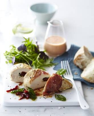 Rangitikei Chicken Breast Stuffed With Mozzarella, Semi-Dried Tomatoes & Basil Served With Summer Greens & Smoked Red Peppers