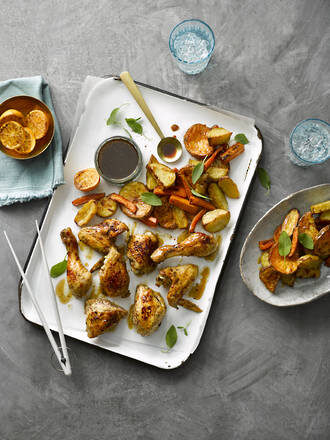 Roast Chicken With Root Vegetable Salad & Ponzu Dressing